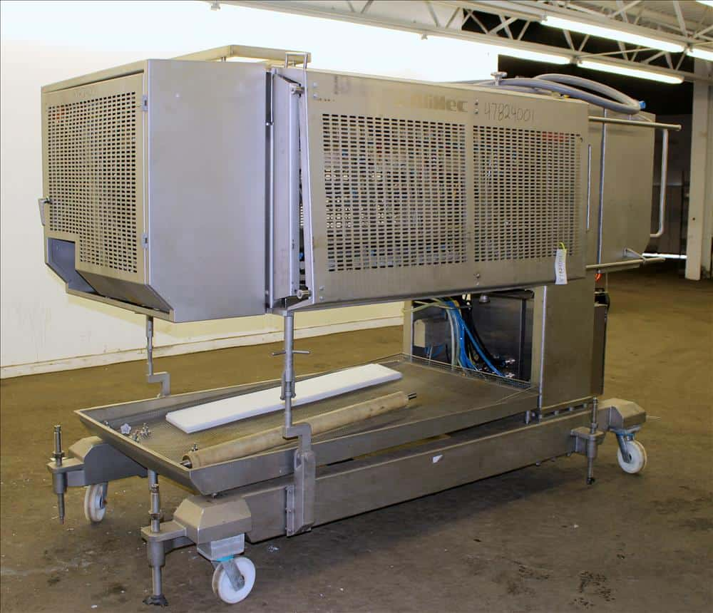 2009 Alimec Food Slicer, Model Slicer, S/N 628-52, 3 Station, no infeed magazines. Missing blade, blade driven by a 3 kW (4 hp), 3/60/240/480 volt, 870 rpm motor. Bottom drain pan. Mounted on a stainless steel frame with casters (Located in Chicago)***MDGAEK***