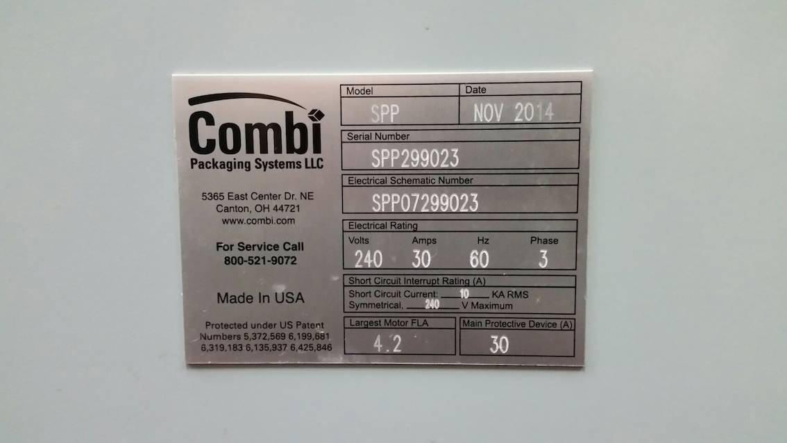 """2014 Combi Robotic Case Packer, Model SPP, S/N SPP299023, Previous Packages: 341 ML 12 Pack Long Neck Beer Bottles w 4-6 Pks @ 200 PPM & 9 CPM with 6 x 4 x 1 Pack Pattern (Bottle Size 2-3/8"""" Dia. x 9-1/2"""" H & Carton Size 15-1/4"""" L x 10-3/4"""" W x 9-1/2"""" H); 341 ML 12 Pack Long Neck Beer Bottles w 6 - 4 Pks @ 200 PPM & 9 CPM with 6 x 4 x 1 Pack Pattern (Bottle Size 2-3/8"""" Dia. x 9-1/2"""" H & Carton Size 15-1/4"""" L x 10-3/4"""" W x 9-1/2"""" H); 650 ML 12 Pack Beer Bottles @ 180 PPM & 15 CPM with 3 x 4 x 1 Pack Pattern (Bottle Size 3"""" Dia x 10"""" H & Carton Size 12-1/4"""" L x 9-1/2"""" W x 12"""" H) Standard Minimum Package Dimensions (Outside Dimensions: 8"""" L x 6"""" W x 5"""" O.D., Standard Package Dimensions Maximum: 20"""" L x 16"""" W x 18"""" O.D., Change Parts for 650 ML12 Pack, 240 V (Manufacturer Manuals Available Upon Request)"""