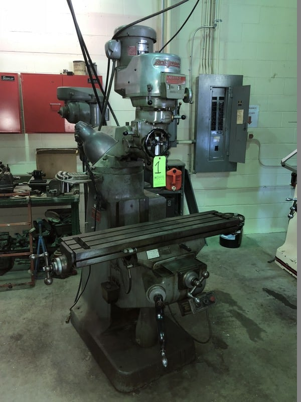 "Bridgeport Vertical Milling Machine, S/N 2J-82761/2, Series 1, with 2 hp Spindle Speed, with 42"" L x 9"" W Adjustable Table, with Bridgeport Shaping Attachment in Rear, S/N E-15364"