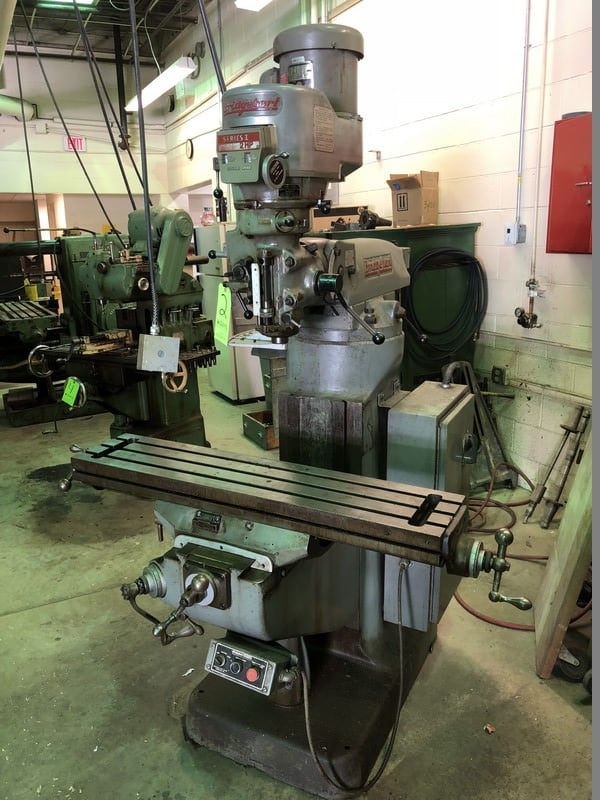 "Bridgeport Vertical Milling Machine, S/N 2J-83291/2, Series 1, with 2 hp Spindle Speed, with 42"" L x 9"" W Adjustable table"