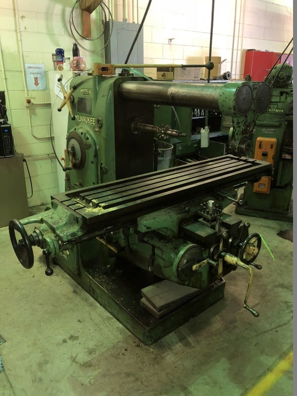 "Milwaukee Horizontal Milling Machine, Model K, S/N 26-3615, 1500 RPM Capacity , with 65"" L x 15-1/2"" W Adjustable Table"