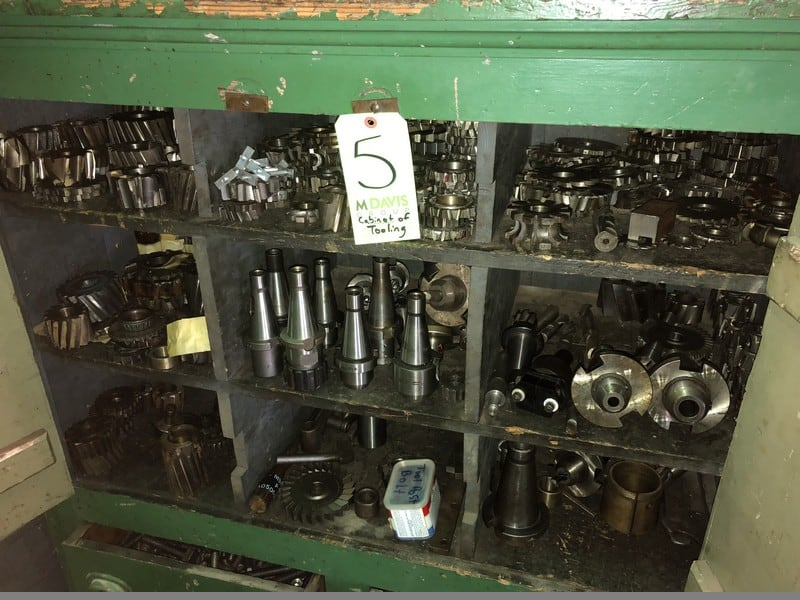 Cabinet of Assorted Tooling for Lots 3 & 4, Includes Milling Tapes, Dies, Chucks, Jack-Look Mills, and Other Tooling Associated with Vertical Mills
