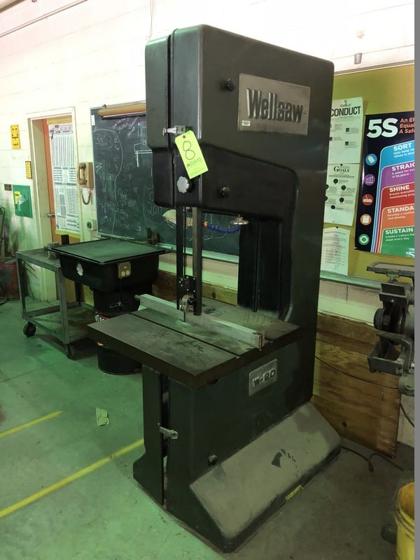 "Wellsaw Vertical Band Saw, M/N W-20, with 26"" x 26"" Working Table"