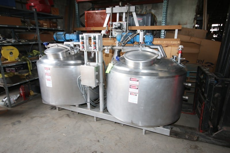 DCI Dual 150 Gal. S/S Slurry Tank System, S/N MS53-2 & MS 53-1, Mounted on S/S Skid, with 3 hp Top Mounted Agitation Motors (LOCATED IN FT. WORTH, TX)