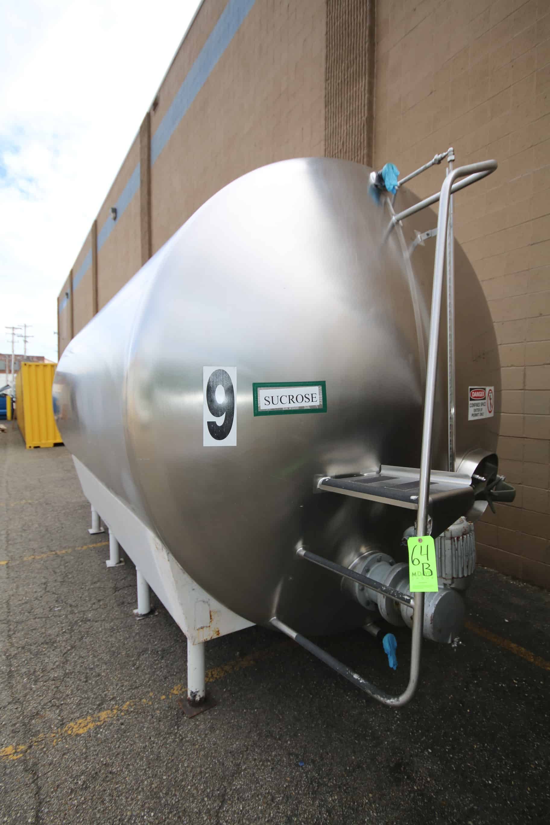 "Cherry Burrell 5,000 Gal. S/S Horizontal Single Wall Tank, M/N HC, Equipped with Horizontal  Agitation, Dual CIP Spray Ball, S/S Front,, Temp Probe, 8'-3"" W x 16'-6"" L x 9'-6"" T"