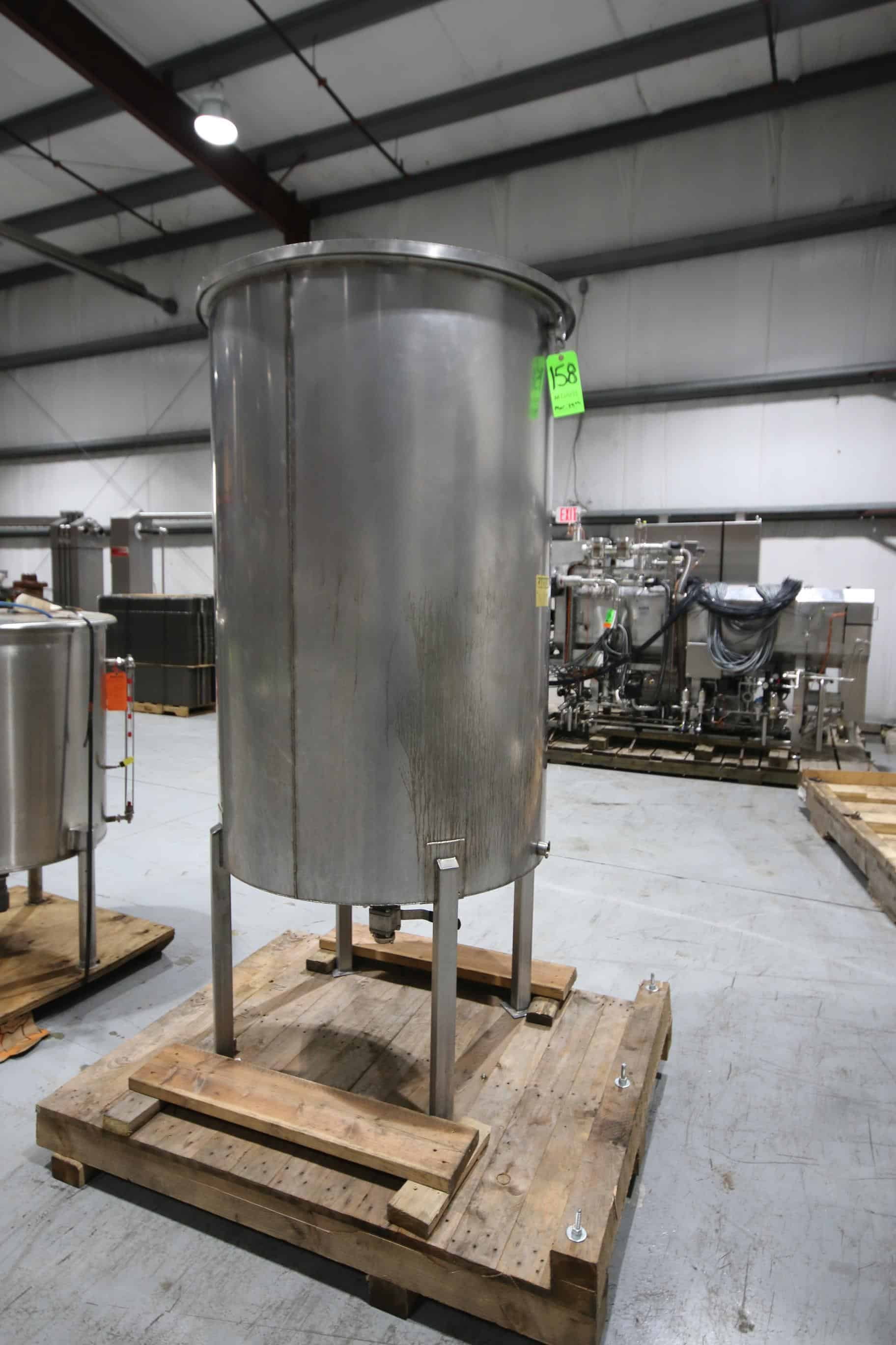 "S/S Aprox. 350 Gal. Single-Wall Vertical Tank, Overall Dims.:  85"" Tall x 37"" W, Mounted on S/S Legs"
