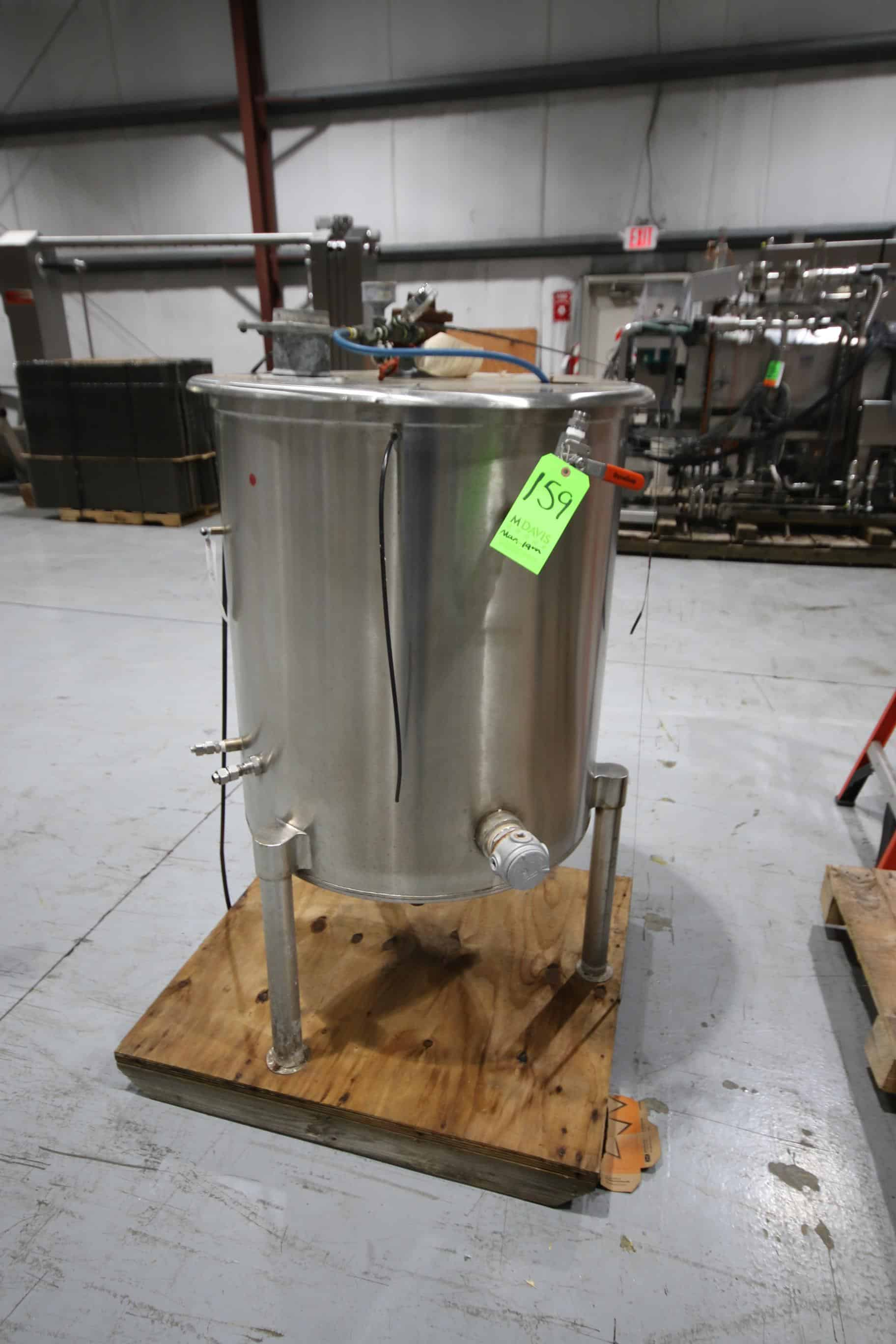"S/S 100 Gal. Jacketed Vertical Tank, Overall Dims.:  60"" Tall x 30"" Dia, Mounted on S/S Legs"