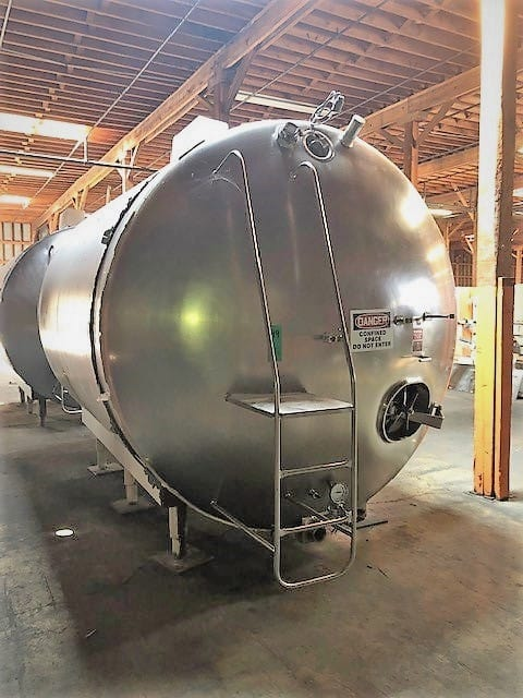 "Walker S/S 4,000 Gal. Horizontal Jacketed Tank, Model 10593, S/N HHT4886R, Area Sq. Ft. 84/R-12, Working Pressure 85 PSIG, Tested 145 PSIG, with Dual CIP Sprayball, Top Mounted Agitation, Overall DIMS 160""L x 136""H x 104""W"