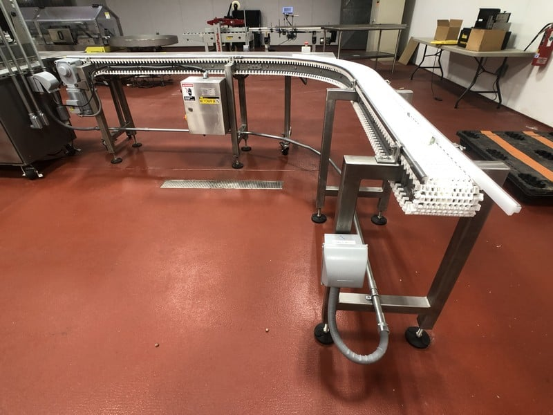 """2016 B.D. Briggs 90 Degree S/S Product Conveyor, S/ N RVW 001, Approx. 6""""W x 124"""" L, Belt Speed 50' Per Minute (Located in Pittsburgh Approximately 15 Minutes From M Davis Group Auction Showroom)(Sold Subject to Confirmation)"""