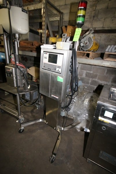 VideoJet IPRO Ink Jet Coder, S/N 023020024WD, 100 PSI, with Ink Head with Digital Display & Key Board, Mounted on S/S Portable Frame (LOCATED IN FT. WORTH, TX)