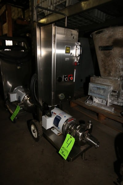 "WCB 1 hp Centrifugal Pump, M/N C114, with Baldor 3450 RPM Square D Safety Switch, Mounted on S/S Portable Frame, 1-1/2"" x 1-1/2"" S/S Clamp Type Inlet/Outlet with Reducer, 230/460 Volts (LOCATED IN FT. WORTH, TX)"