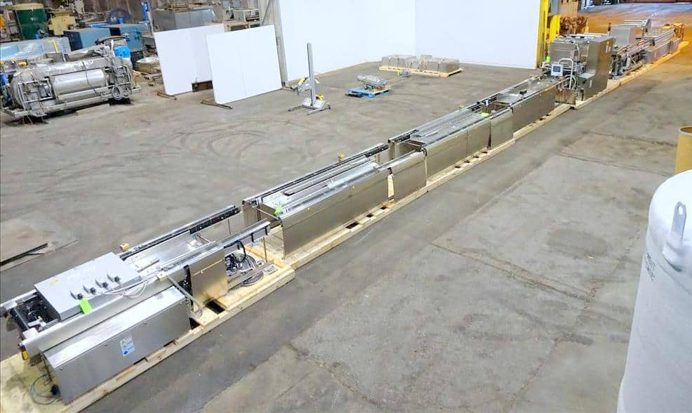 """Multivac Model R535 Horizontal Form Fill and Seal Thermoformer. Has dual web arbors, (3) manual load sections with load areas measuring 140"""" L X 25"""" W (each), also includes BUSCH vacuum and flush pumps. Has Multivac direct-web printing system with VideoJet printer. Machine currently set on 12"""" diameter cutting dyes. Includes Schlumpf hydraulic assisted film reel loader. Allen Bradley controls. Serial no.: 178370. Built: 2014."""