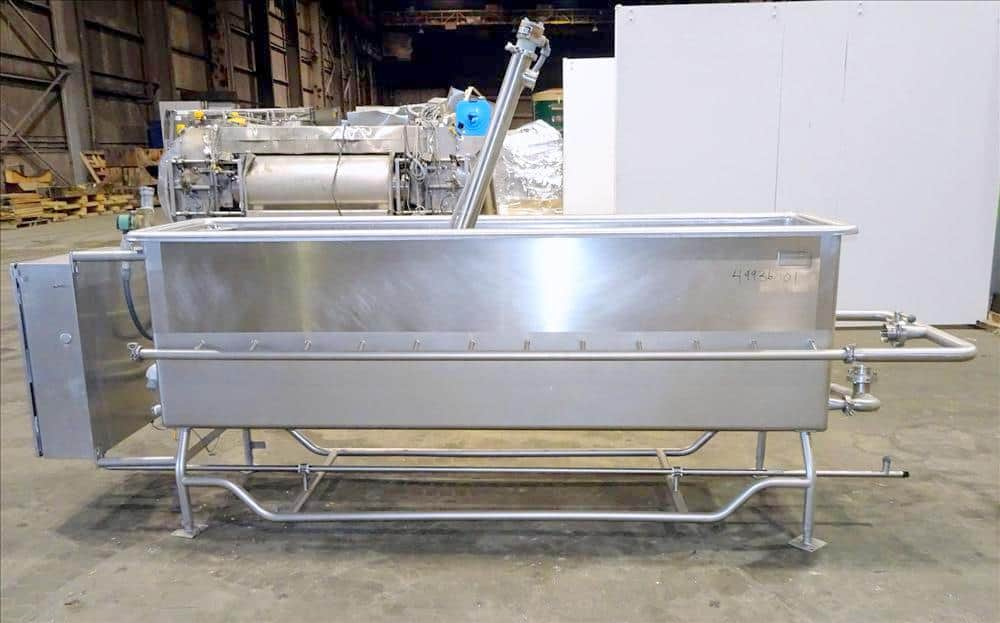 Sani-Matic Clean Out of Place Tank, Model PWJ-300. Stainless Steel, Horizontal. Trough approximate 98″ long x 24″ wide x 28″ deep. Includes 7.5 HP pump, electric heater, diaphragm pump, and control panel with chart recorder. PO # 123233. (Located in Chicago, IL)