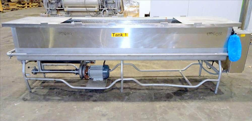 Sani-Matic Clean Out of Place Tank, Model RWJ-250. Stainless Steel, Horizontal. Trough approximate 120″ long x 24″ wide x 21″ deep. Includes 7.5 HP pump with electric heater, diaphragm pump, and control panel. PO # 115994, Item # 180337. (Located in Chicago, IL)
