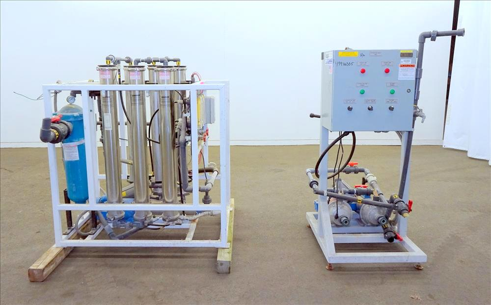 Wigen Water Technologies Reverse Osmosis System, consisting of; Qty. (6) membrane filters, (1) Goulds booster pump, (1) FSI filter, (2) centrifugal pumps, and a control panel. (Located in Chicago, IL)