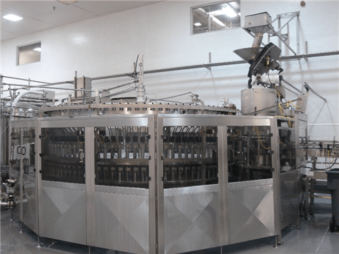 KHS 96 Valve Filler / Alcoa 16 Head Capper, Double Pre Evac Monoblock Filler/Capper, last setup for soft drinks, Capable of filling PET Water Bottles with proper change parts, Neck Support Features, Capper setup for 28mm PTOC and 1881, S/S Shrouding, Allen Bradley PLC with Panelview 1000 Operator Touch Screen, S/S Construction, Cap Hopper/Blower included, In operation till April 2011, Annual PM performed - valve rebuilds, etc., Serial Number: 76-Filler, 0014-Capper, Dims: 13 ft Dia. x 10 ft H, Speed: 20 oz - 700 BPM, 2L - 350 BPM, Electricity: 460v 60Hz 3ph
