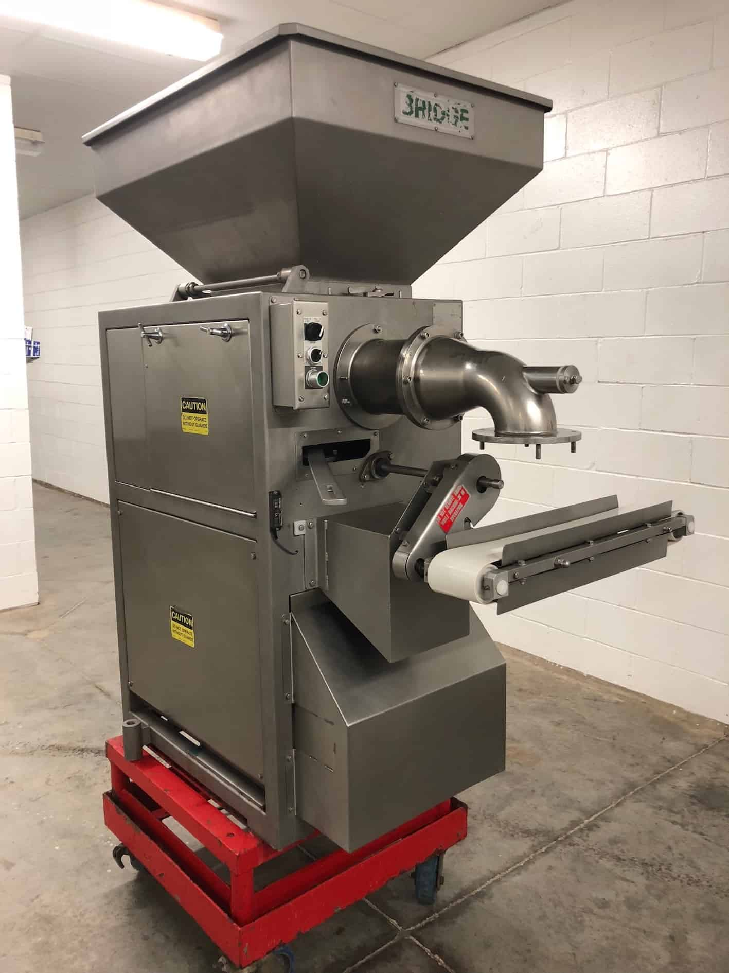 Bridge Rotary Machine Co Meatball Former, Model BT005, Serial Number 26317–10, 208 V 3 Phase (Shown Cycling) (DISMANTLED FOR CLEANING. UNIT COMPLETE AND IN OPERATING CONDITION)
