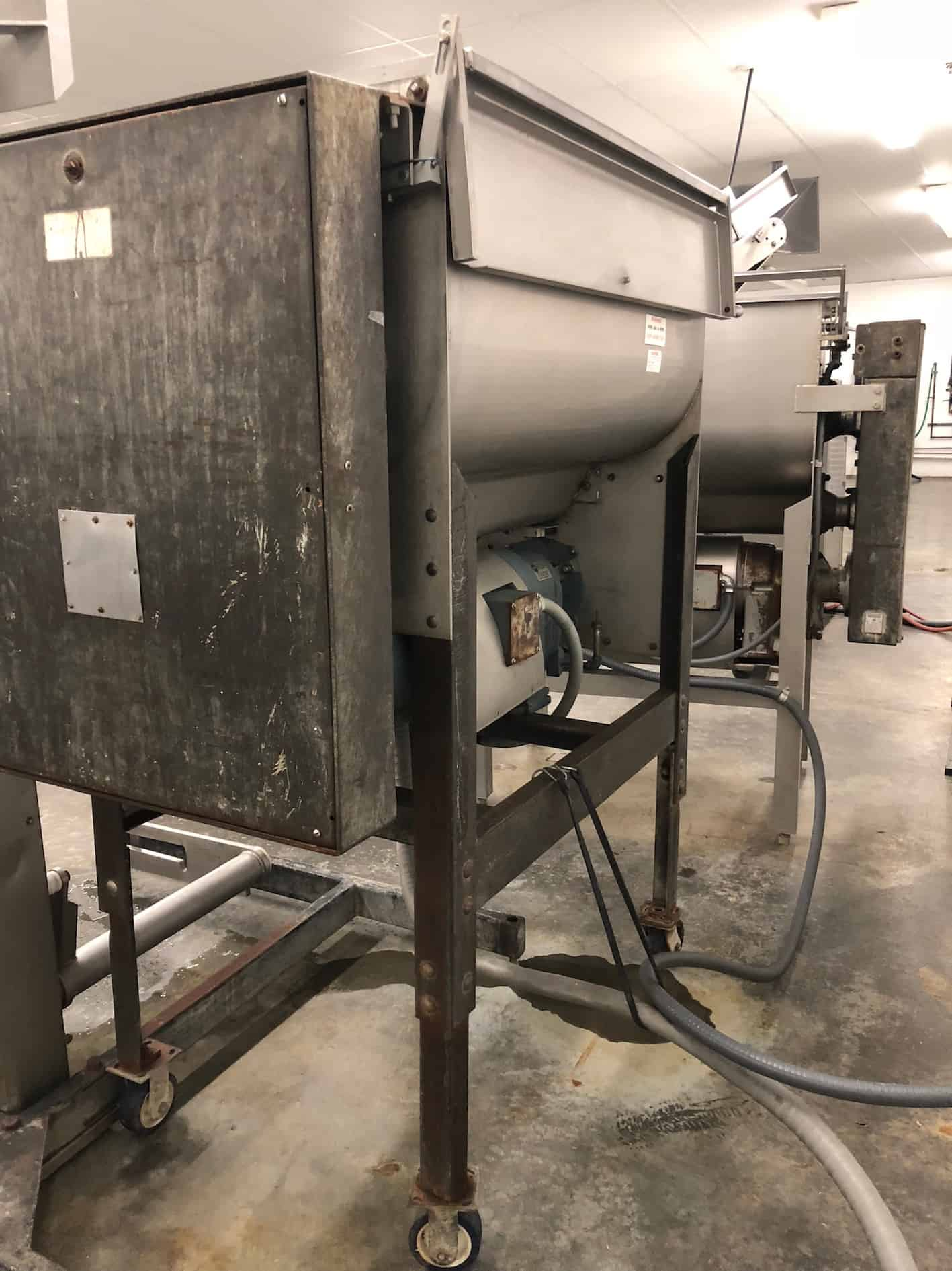 Hobart Grinder, Model 4356, Serial Number 11–097-814, 5 -15 HP, 1725 RPM, 220 V 60 Hz Three Phase (Unit on Right) (Shown Cycling) (DISMANTLED FOR CLEANING. UNIT COMPLETE AND IN OPERATING CONDITION)