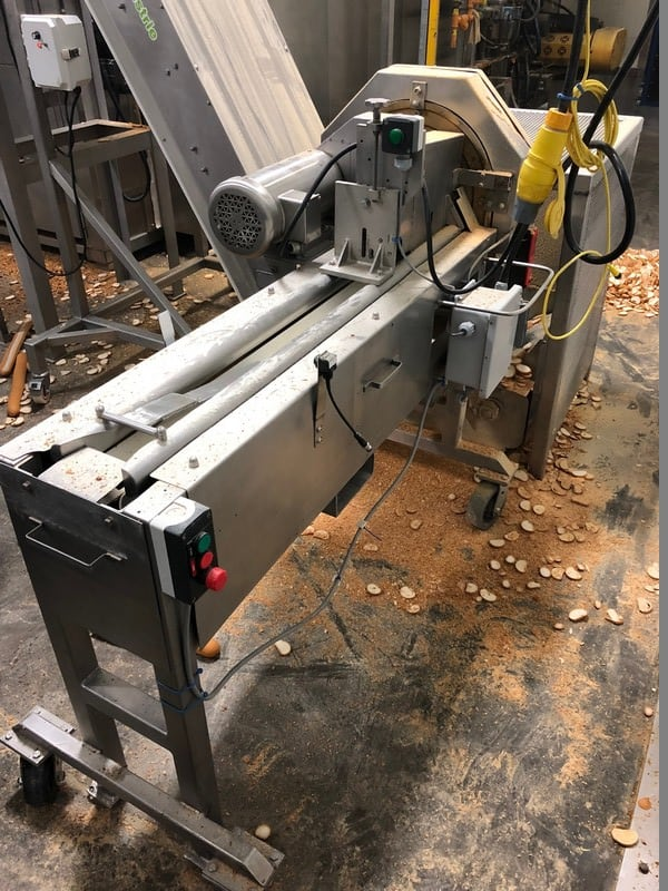 Urschel S/S Rotary Slicer, M/N OV, S/N 447, S/S Clad Motor, Mounted on Portable S/S Frame
