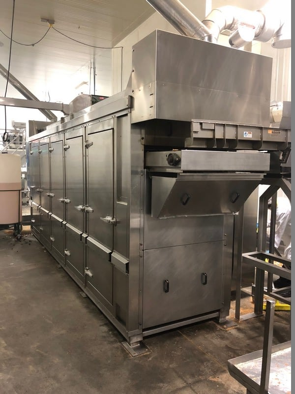 S/S 3-Pass Convection Oven Tunnel, M/N LCTO-3LV-L240-BW40, S/N 2036-27-02-2013, 120/208 VAC, 3 Phase, Max. Temp. 450, Natural Gas, 4 min. Purge Time, with Eriez Shaker Deck Infeed, Overall Dims.:  Aprox. 21' L x 5' W, with Allen Bradley PanielView Plus 1250 Touchscreen