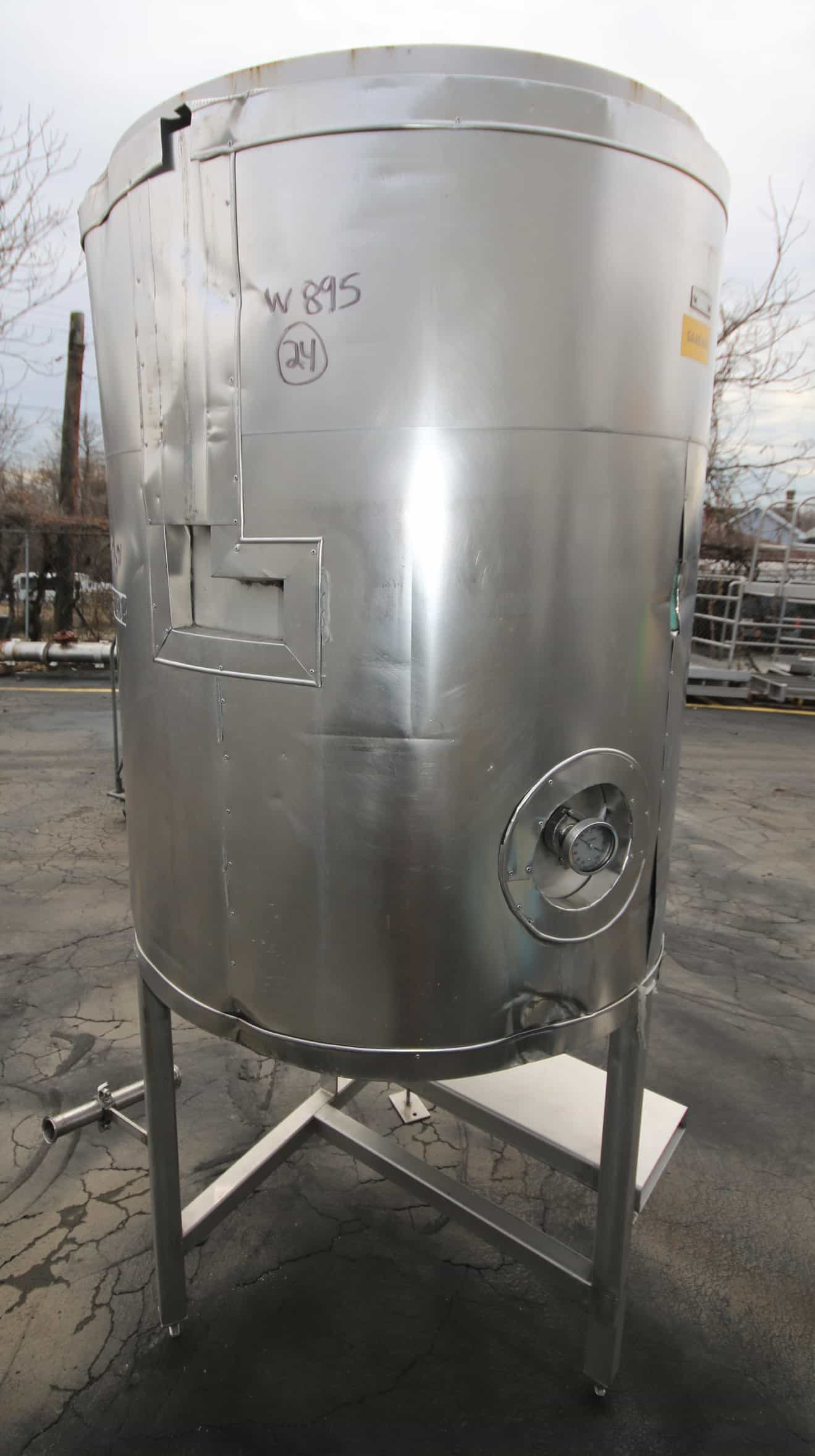 "Aprox. 200 Gal. Cone Bottom S/S Tank with Hinged Lid, with 2"" CT Bottom Connector, Insulation & S/S Legs, (W895)"