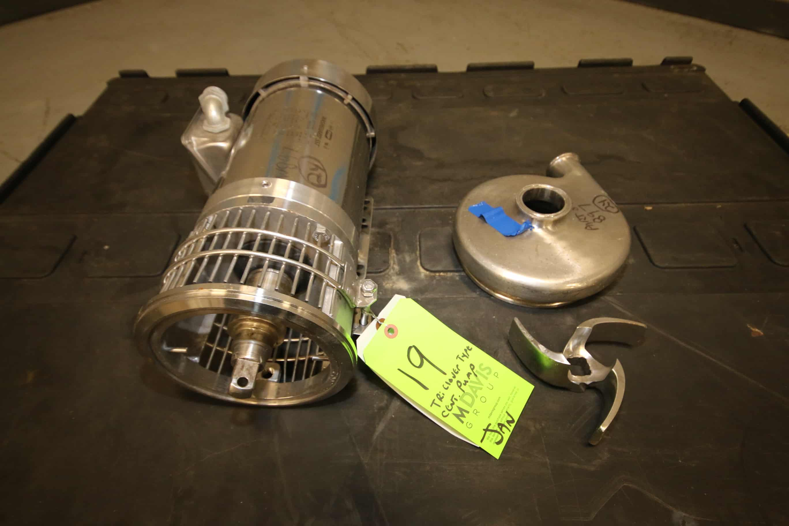 """Tri Clover Type S/S Centrifugal Pump with 2"""" x 1.5"""" CT S/S Head, FHP 2/1.5 hp 1740/1440 RPM S/S Clad Motor, 208-230 / 460V 3 Phase, (Note: Missing Back Plate, Clamp & Seal Kit, (W897)"""