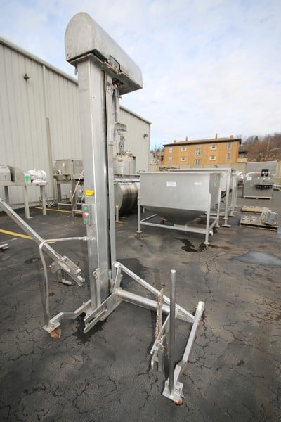 """Carnitech A/S 7 ft H S/S Electric Column Lift System, SN 0354, 230/440V 3 Phase, with 26"""" W x 21"""" L Lift Attachment, Mounted on Casters ,Aprox. Lift Height 82"""", (Overall Dim. 10 ft H x 4 ft W x 53"""" L), (W891)"""