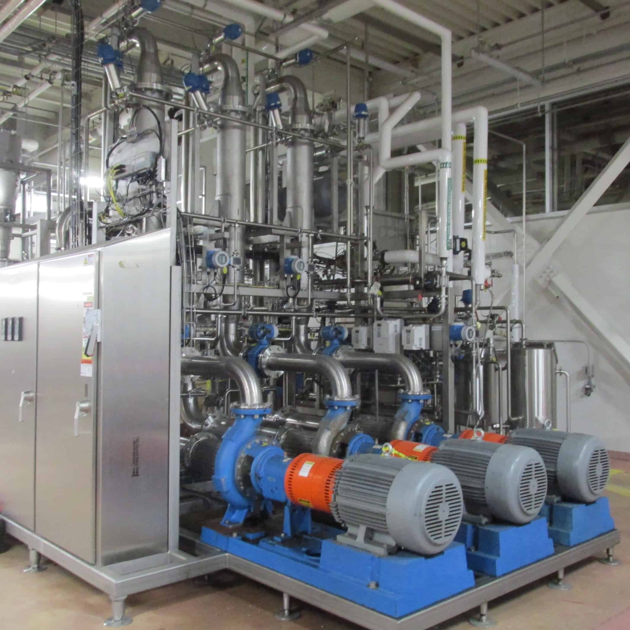 "2011 GEA 3-Stage Cross Flow Micro Filtration System, GEA Process Engineering Contract # 3099-1026, Type E2 Extract Fractionation, Feed Rate 16-22 Kg/Min, Permeate 80% of Feed, Each Stage 14.5 m2, temp 92-95 C, Recirculation Flow 5,800-6,000 L/Min, Target Solids Recovery Min 45%, Tubular SS 0.5 mm Pore Size 3/8"" Tube Dia., CIP Caustic 6%"