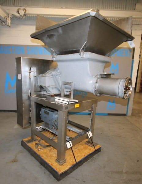 "Weiler Meat Grinder, Model 1109, SN 87195, with 26"" L x 20"" W Steel Feed Hopper, 10"" S/S Feed Screw, Drive Motor, Mounted on S/S Frame, Includes Separate 45"" W x 46"" L S/S Feed Hopper & S/S Belt Cover, (Note: Head Parts Not Included Includes: Locking Ring, Knife Holder & Plates), Includes Manuals, (W883)"