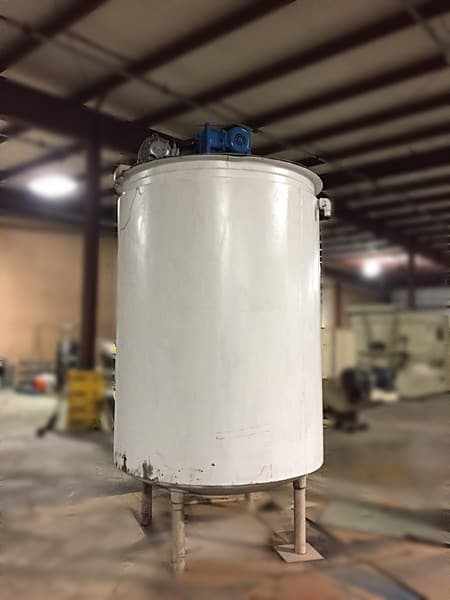 2000-gallon Mild Steel Jacketed mix tank with sweep agitation. 6ft diameter, 10 ft straight side, Total height 14 ft. 5HP motor and gear box on top - requires flatbed to load. Loading fee $200.