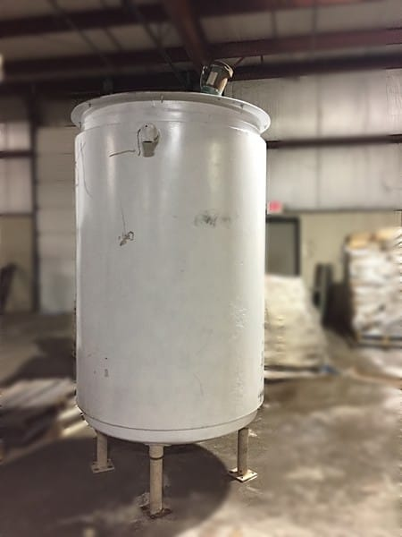 500-gallon Mild Steel Jacketed mix tank with sweep agitation. 6ft diameter, 10 ft straight side, 5HP motor and gear box on top. TOTAL HEIGHT 12 FT. Loading fee $150.