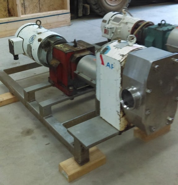 "APV model R6BS Rotary lobe pump. 3"" threaded inlet/outlet. Driven by 7.5 HP, 230/460 Volt, 1725 RPM motor into gear with 11.4:1 ratio. Unit mounted on Stainless Steel base. Rubber lobes. Last used in sanitary food plant, bakery. Dough pump.(Located in New Jersey)"