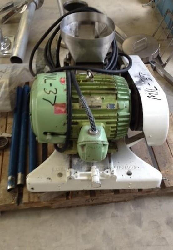 "Fitzmill Comminutting model D Hammer Mill. Has 15 HP, 230/240 volt motor. 11"" Dia. opening. Last used in sanitary food industry. (Located in New Jersey)"