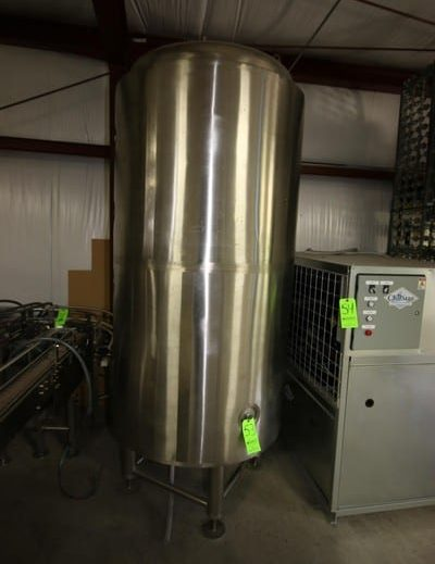 "Best Buy Brewing Equip. 350 Gal. S/S Vertical Jacketed Tank, Tank Dims.: Aprox. 73"" Tall x 39"" Dia., Mounted on S/S Legs, Glycol Jacket***LOCATED IN MECHANICSVILLE, VA***"