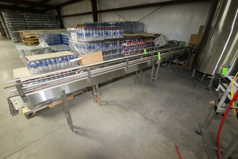 "Straight Runs of S/S Conveyor, with Drives, Aprox. 180"" L x 3"" W Belt & 154"" L x 4"" W Curve Section ***LOCATED IN MECHANICSVILLE, VA***"