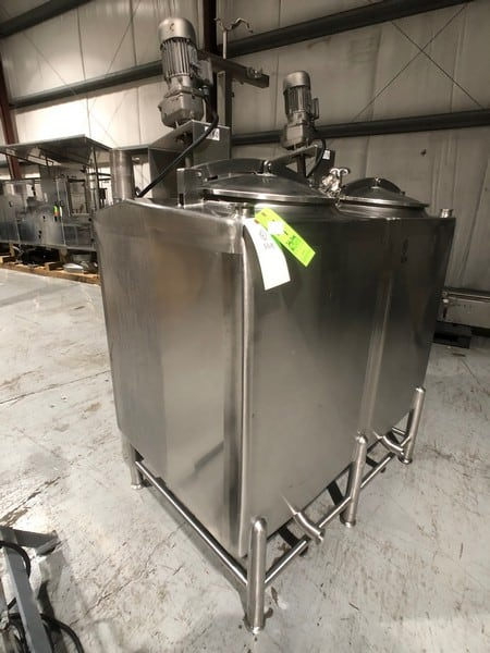 "Feldmeier 2-Compartment @ 150 Gallon S/S Flavor Tank, Model E-448-99, Top-Mount Agitators, CIP Spray Balls, 1/2 HP Nord Agitator Motors (Approx. Dims: 2'4"" W x 3' 6"" H x 2'9"" L) (Rigging & Handling Fee $250.00) (M Davis Group Auction Showroom in Pittsburgh, PA)"