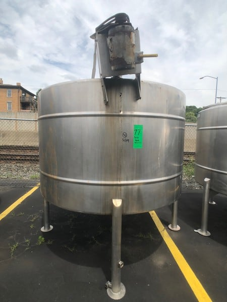 Approx. 1,000 Gallon S/S Mixing Tank, Equipped with Top-Mount Prop Agitation (Rigging and Handling Fee: $300) (M Davis Group Auction Showroom in Pittsburgh, PA)