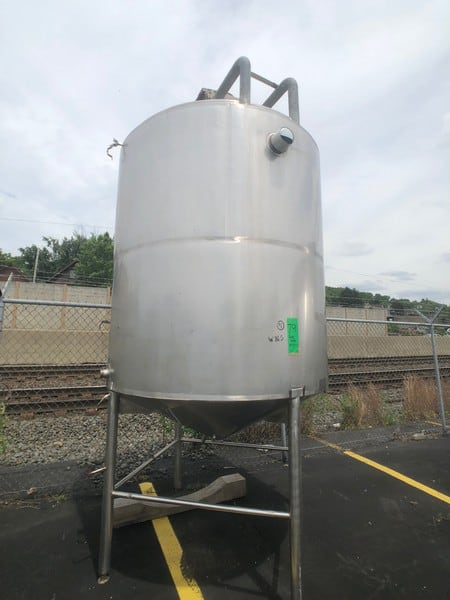 "Approx. 1,000 Gallon Cone Bottom Jacketed S/S Tank, with Bottom Sweep Agitator, with SEW Drive Motor, with Baffle, Dual Sprayball, Top Access Door, with S/S Legs, (Approx. Overall Dim. 80"" W x 152"" H), (W765)(Rigging & Loading Fee $1,000.00) (M Davis Group Auction Showroom in Pittsburgh, PA)(256)"