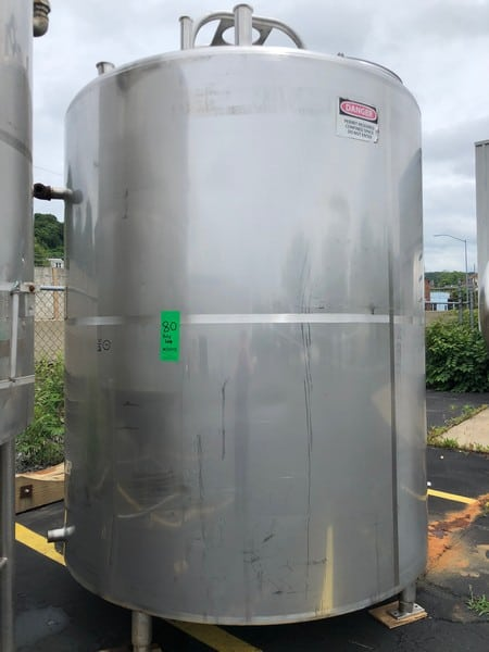 "DCI 1,500 Gallon S/S Processor, S/N C99-F-5450, Top-Mount Side and Bottom Sweep Agitation, Side Wall Baffle, CIP Spray Ball, Approx. Dims: 80"" W x 106"" H ,120 PSI @ 350 Degree F, -20 Degree F @ 150 PSI, Jacket Volume 15 Gallon, No Agitator Motor/Drive (Rigging and Handling Fee: $700) (M Davis Group Auction Showroom in Pittsburgh, PA)"