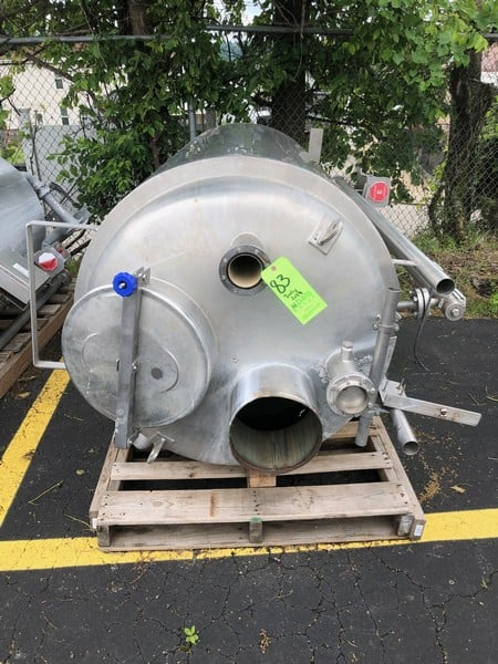 "KSR Kuebler BNA Approx. 350 gallons Insulated S/S Tank, S/N 834491-1/2009, Equipped with Heat Exchanger Bundle Inside Tank, Approx. Dims: 3' Dia. X 6'6"" H, PSI: 10 bar, PT: 15 bar, TS: -10...+100 Degree C, 316 L S/S, Chamber Mat: 1.457-1, Connections: DN20/PN16/C, Float: ZVSS-200/R48H, Roller Display: MRA, S.G: 850. KG/m, C to C (M): 1640 mm (Located at M Davis Group Auction Showroom in Pittsburgh, PA)(Rigging & Handling Fee $200.00)"