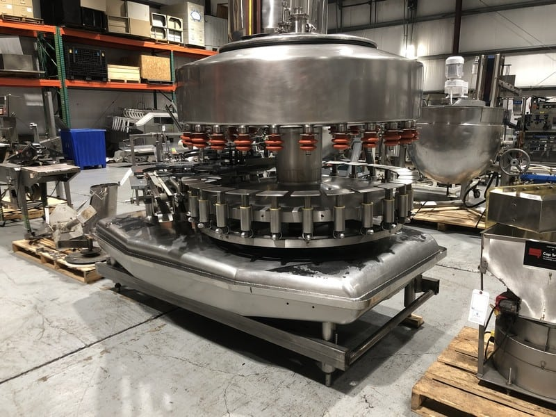 Federal 26 Valve S/S Rotary Gravity  Filler, SN 1222G266LA518, with 6 Head Rotary Screw Capper, Set Up with Gallon Change Parts (Located at M Davis Group Auction Showroom in Pittsburgh, PA) (Rigging & Handling Fee $700.00)