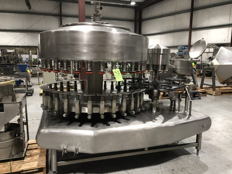 Federal 32 Valve S/S Rotary Gravity  Filler, SN 1152A328RA636, with 8 Rotary Head Snap Capper, Set Up with Gallon Change Parts (Located at M Davis Group Auction Showroom in Pittsburgh, PA) (Rigging & Handling Fee $700.00)