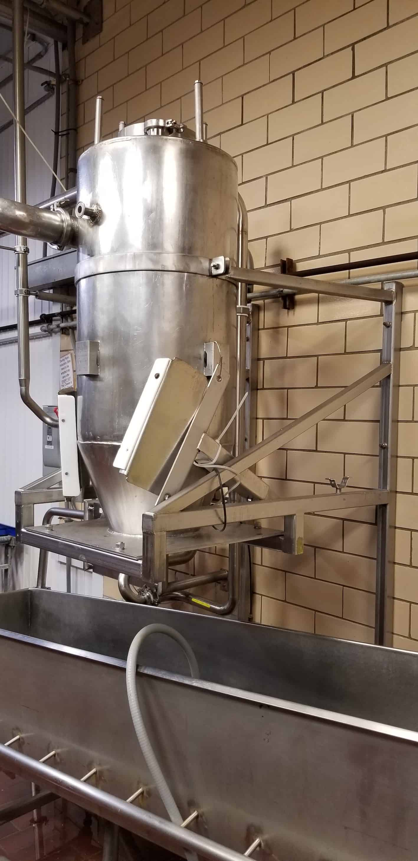 "4' H x 20""W S/S Cheese Cyclone, Mounted on S/S Bracket, Stoelting Curd Blower System, with 25hp Blower, with 1755rpm Motor, 230/460V 3 Phase"