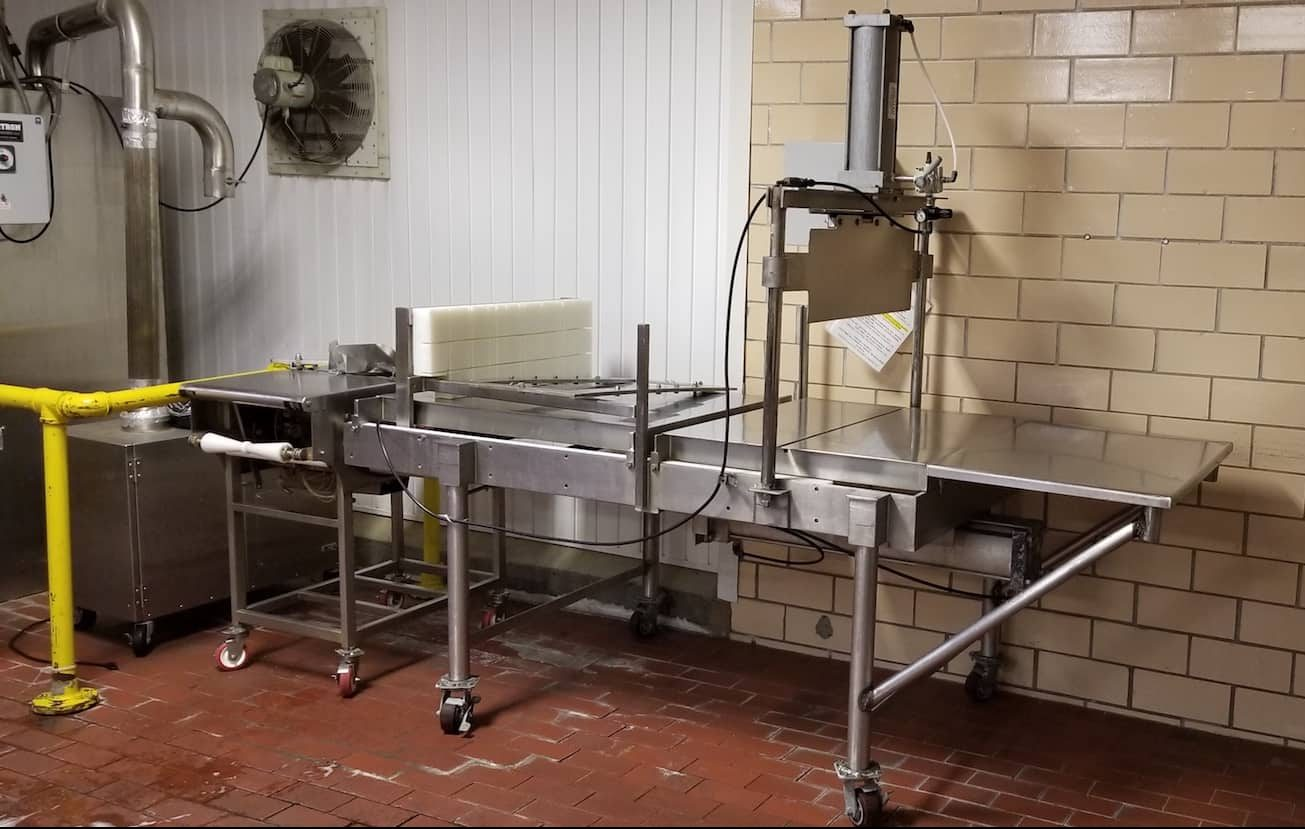 "200 LB Cheese Block S/S Cutter, Pneumatic, with 33""L x 12""W S/S Plate, Mounted on Casters, (Approx. Overall Dimensions 100""L x 42""W x 86""H)"
