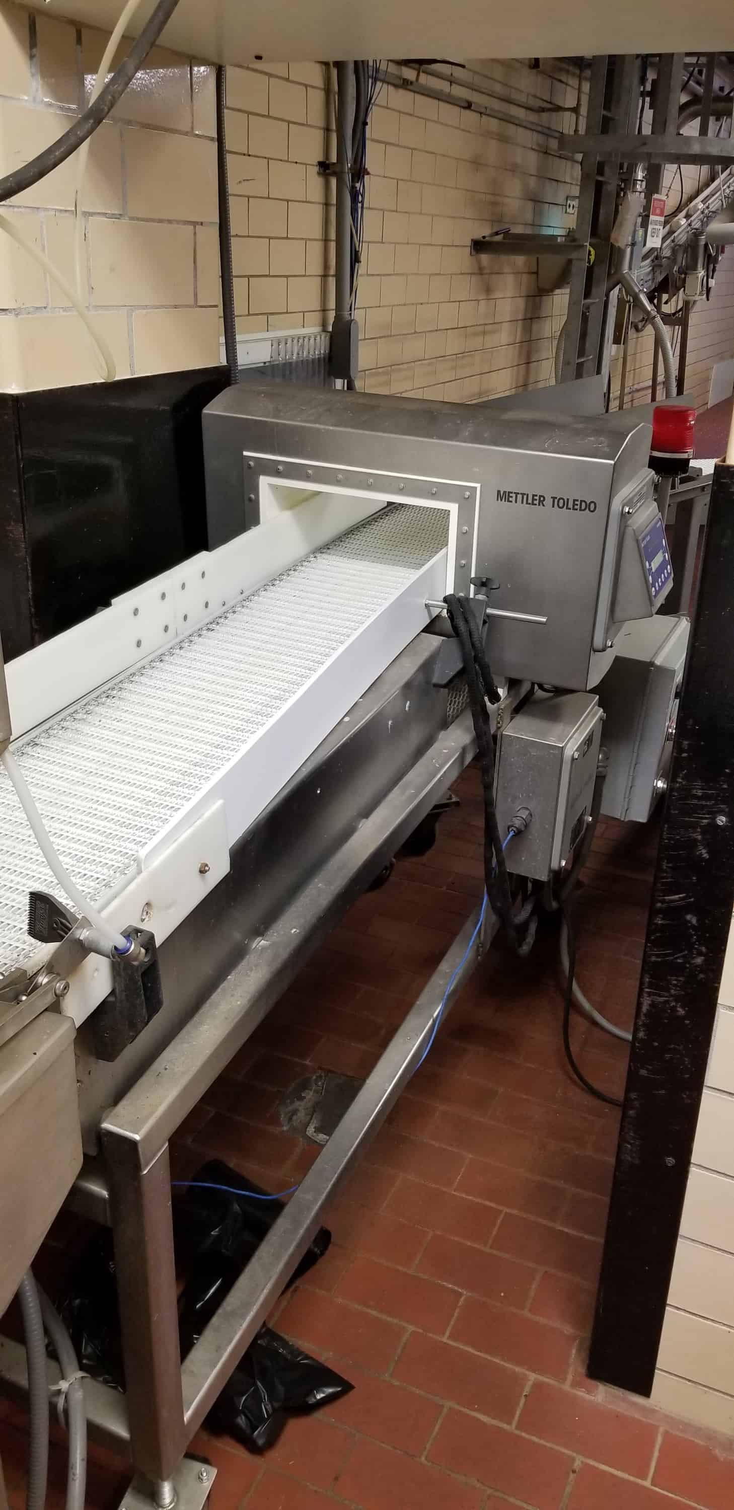 "2018 Mettler Toledo Safeline S/S Metal Detector System, Model 400103, S/N 520334, 12'W x 6.5""H Opening, Mounted on 90""L x 12""W x 47""H Power Conveyor with SEW Drive Motor"