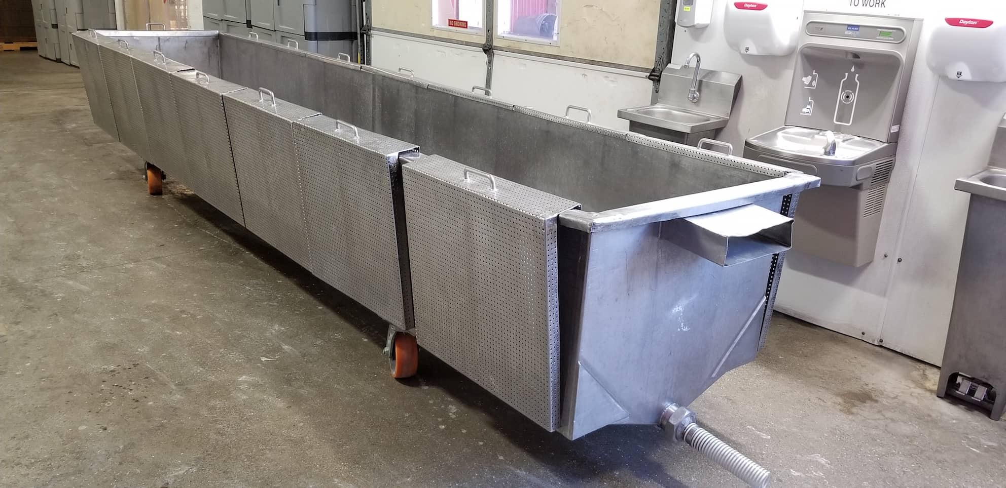 "(4) Universal 200 lb. S/S Swiss Cheese Vats, Inside Dimensions 184""L x 33""W x 24""D, with Screens"