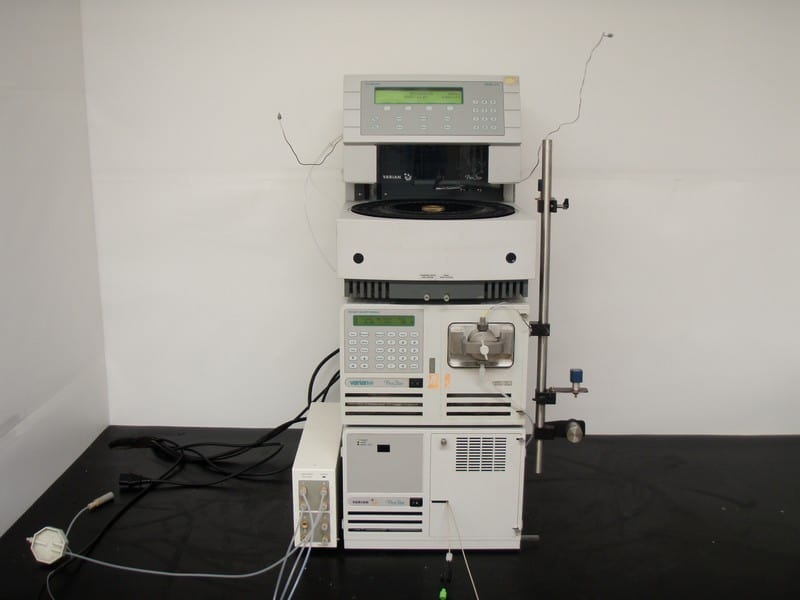 Varian ProStar HPLC consisting of Autosampler Model 410, Pump Model 210, UV-Vis Detector Model 325, and a DG-2410 4-Channel Degasser
