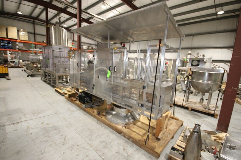 "S/S 2-Lane Cup Filler, with 2-1/2"" Dia. Cups, 10"" L x 3"" W Plates, (4) Filler Heads, with Tamper Evident Station, Overall Dims.: 142"" L x 53"" W x 92"" H (Filler #5)"