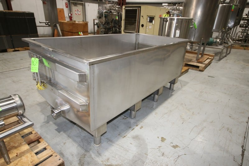 "S/S Trough, Internal Dims.: 95-1/2"" L x 47-1/2"" W x 29"" Deep, with Pitched Bottom, On S/S Legs (W930) (Rigging & Loading Fee $50.00) (Located in Pittsburgh, PA)"