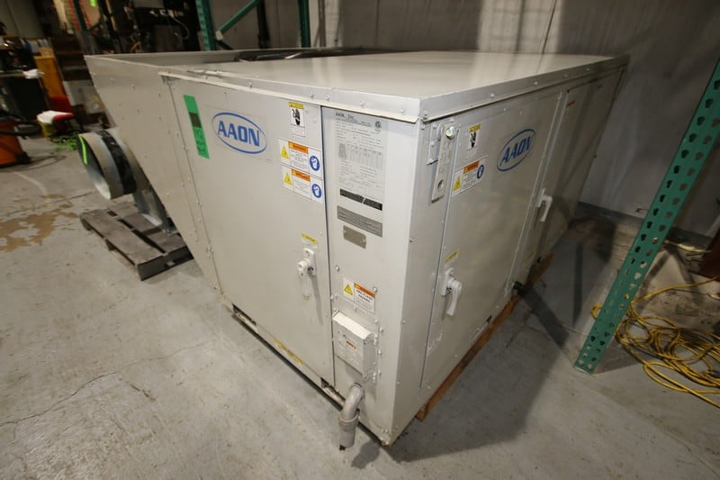 "2016 Aaon Heating Cooling Unit, M/N RN-010-8-0-EB09-121, S/N 201604-ANEJ13939, 208 Volts, 3 Phase, 60 Hz, Overall Dims.: Aprox. 7' L x 80"" W x 44"" H, Includes Greenheck Blower Unit"